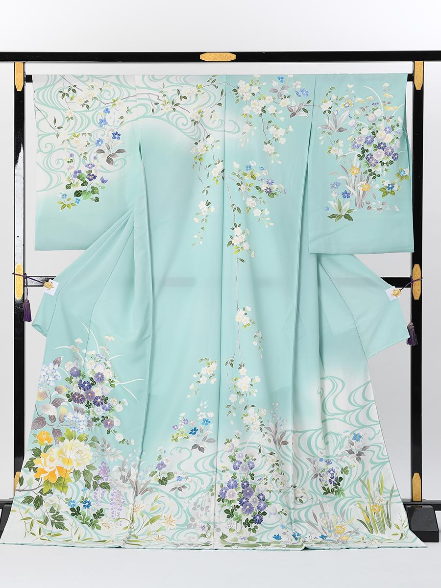 【最高級訪問着オーダーレンタル】オーダーレンタル訪問着・菱健謹製「水色に花柄」品番:order202001