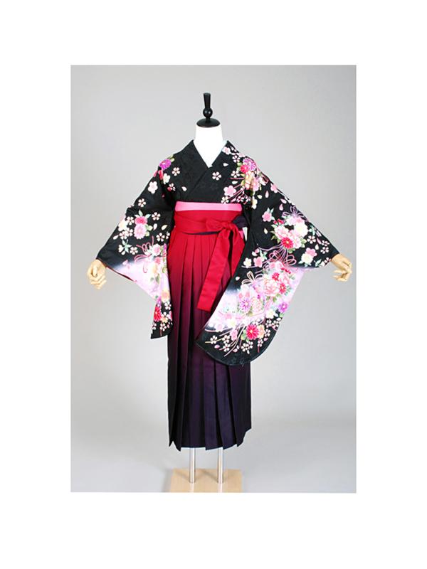 【高級卒業式袴レンタル】p-1 黒 小花 サイズ 小花