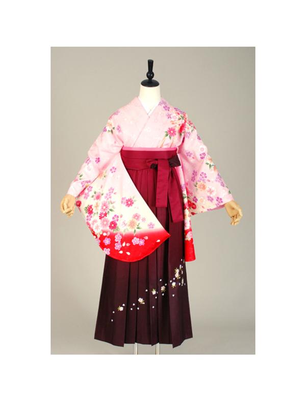【高級卒業式袴レンタル】p-2 ピンク 小花 サイズ 小花