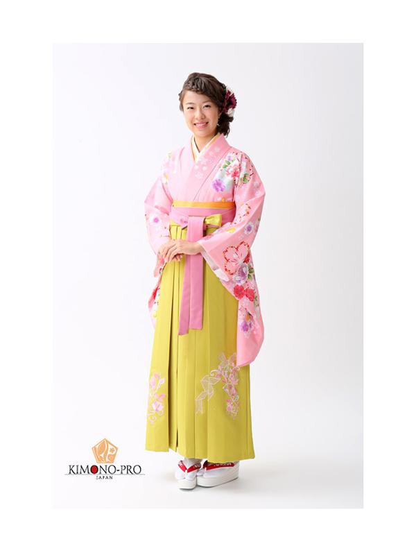 【高級卒業式袴レンタル】p-26-13 ピンク 桜と洋花 サイズ 桜・洋花