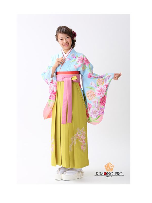【高級卒業式袴レンタル】p-26-15 明るい水色 百合と洋花 サイズ 百合・洋花