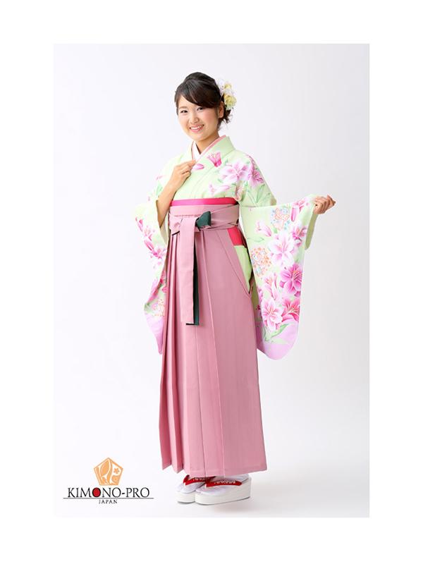 【高級卒業式袴レンタル】p-26-16 淡い黄緑 百合と洋花 サイズ 百合・洋花