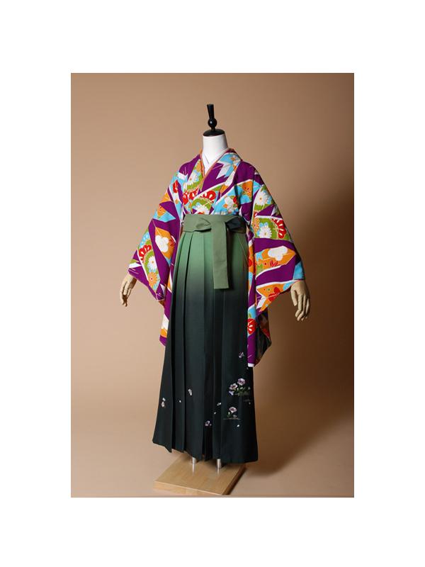 【高級卒業式袴レンタル】p-5 紫地に橙と水色の矢絣 サイズ 矢絣