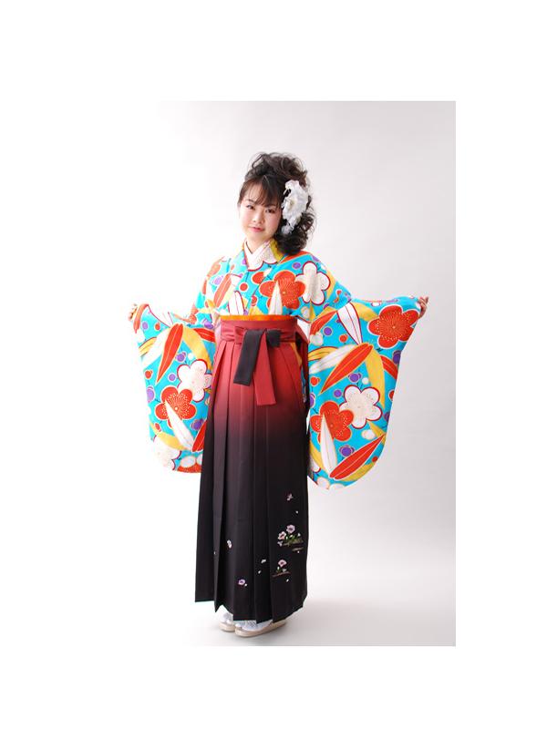 【高級卒業式袴レンタル】p-9 濃い水色 梅と笹 サイズ 梅・笹