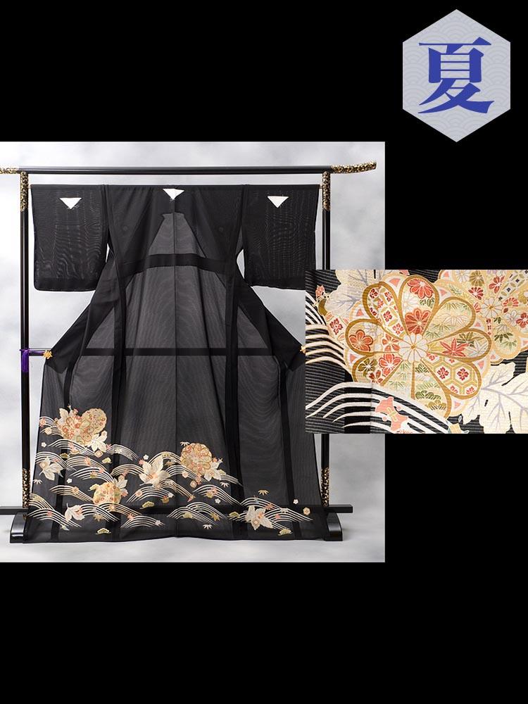 キモノプロの「絽」黒留袖レンタル商品です。品番は、rt-9番。可愛い宝尽くしの柄がポイントです。