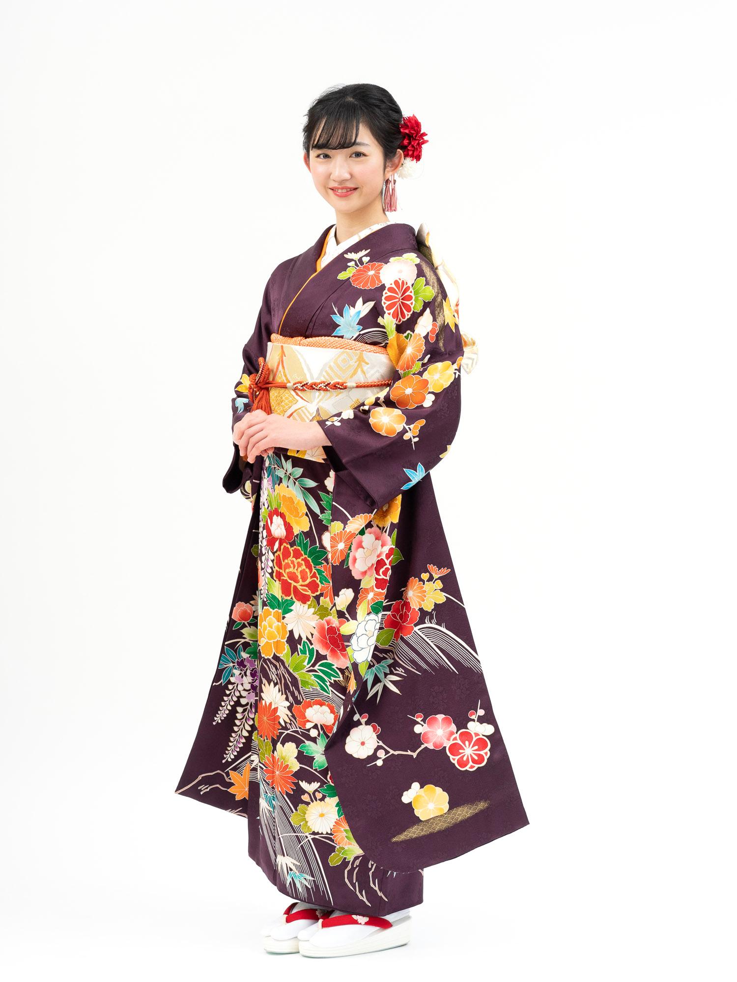 【最高級の京友禅振袖レンタル】古典柄の花尽くし Mサイズ 濃紫色・品番SK-25