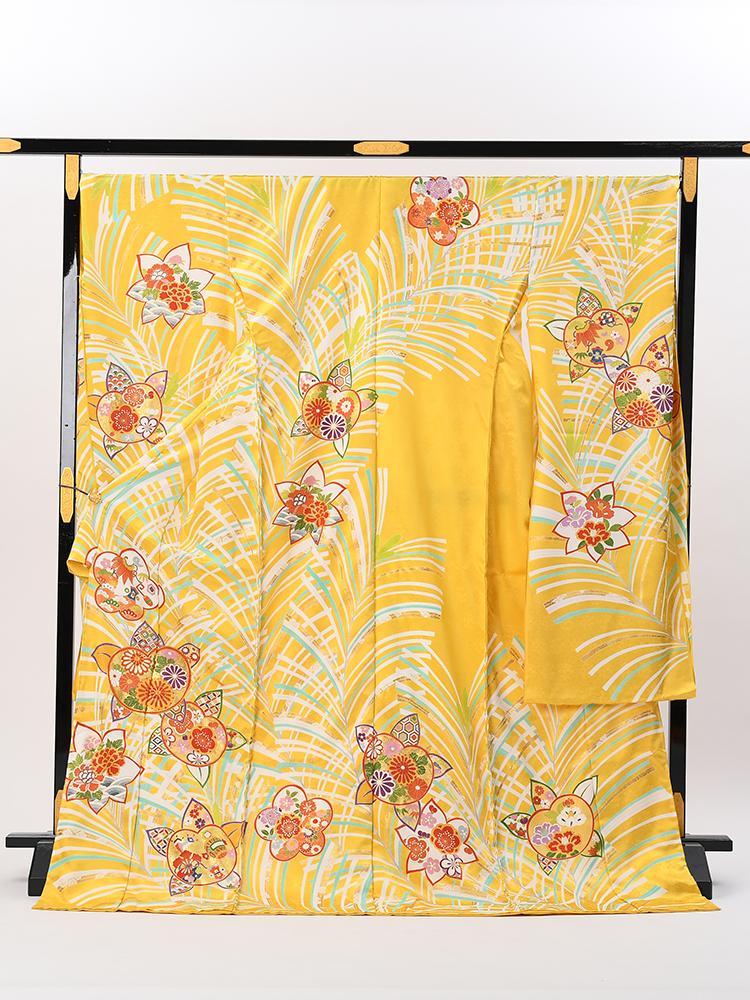 【最高級振袖オーダーレンタル・販売】黄色・橘と松の柄・上質の京友禅 品番sk-43