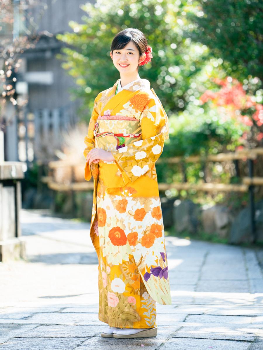 【最高級の京友禅振袖レンタル】山吹色・四季の花・Lサイズ 品番sk-47