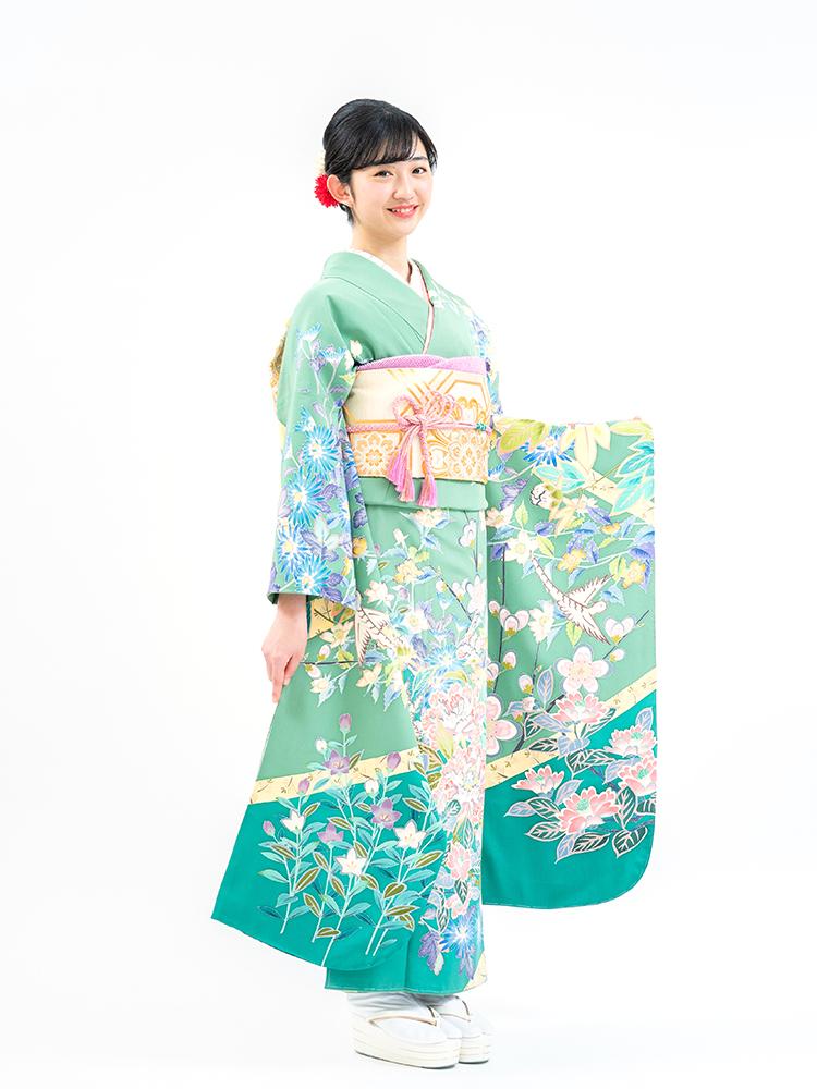 【最高級の本加賀友禅振袖レンタル】緑色・四季の花・サイズ 品番sk-48