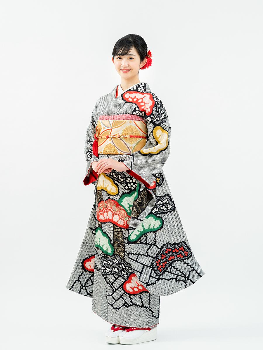 【最高級の総絞り振袖レンタル】黒色・疋田絞りに松・MLサイズ 品番sk-50