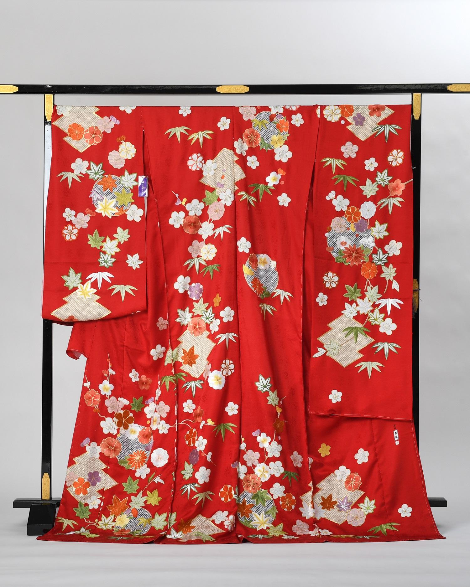 【最高級振袖オーダーレンタル】藤娘きぬたや謹製 刺繍の振袖 赤 品番sk-54