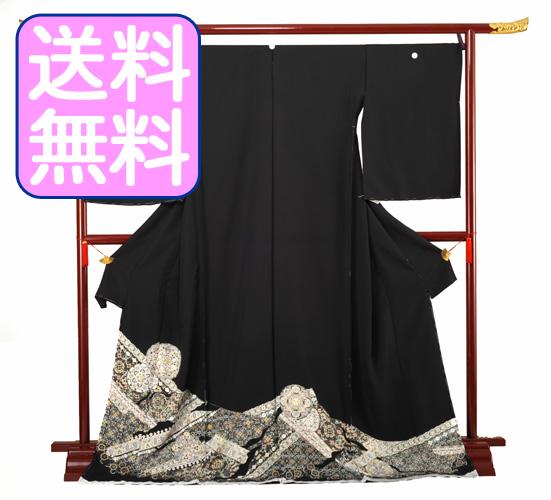 【高級黒留袖レンタル】t-112 正倉院文様・小さいサイズ Sサイズ 正倉院文様