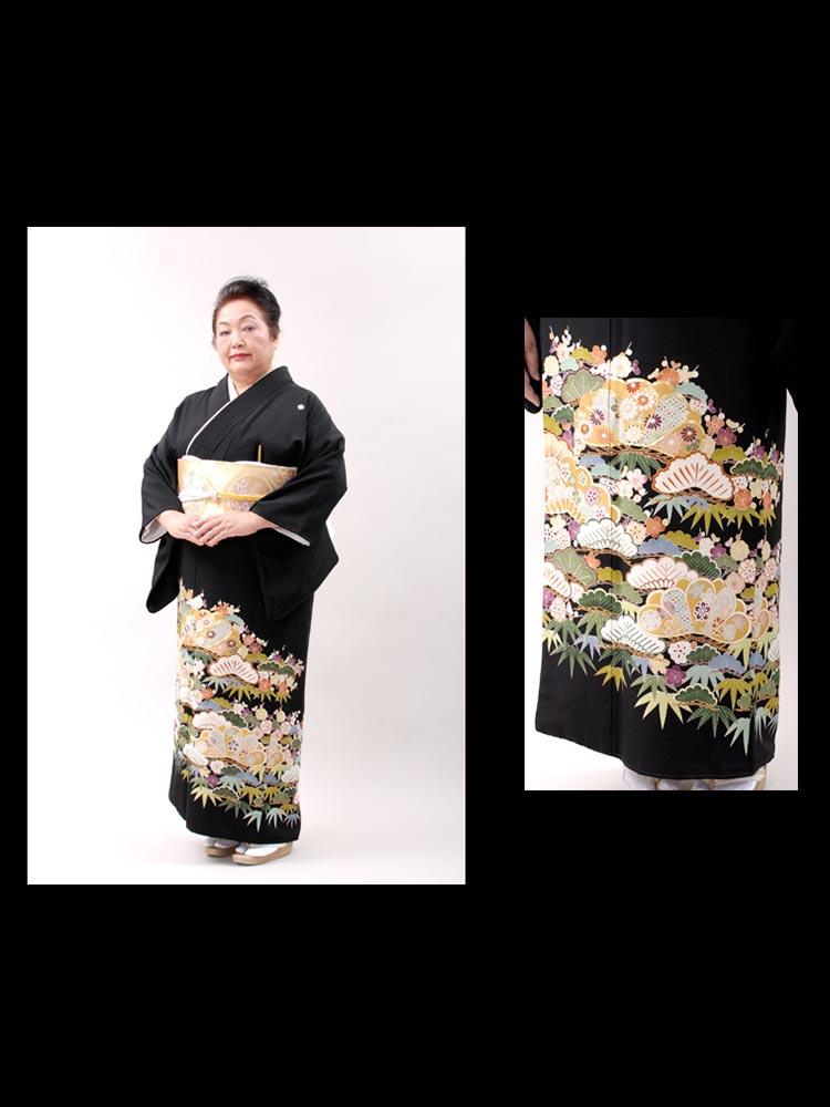 【高級黒留袖レンタル】t-215 幅広大きいサイズ・松竹梅柄 LOサイズ 松竹梅