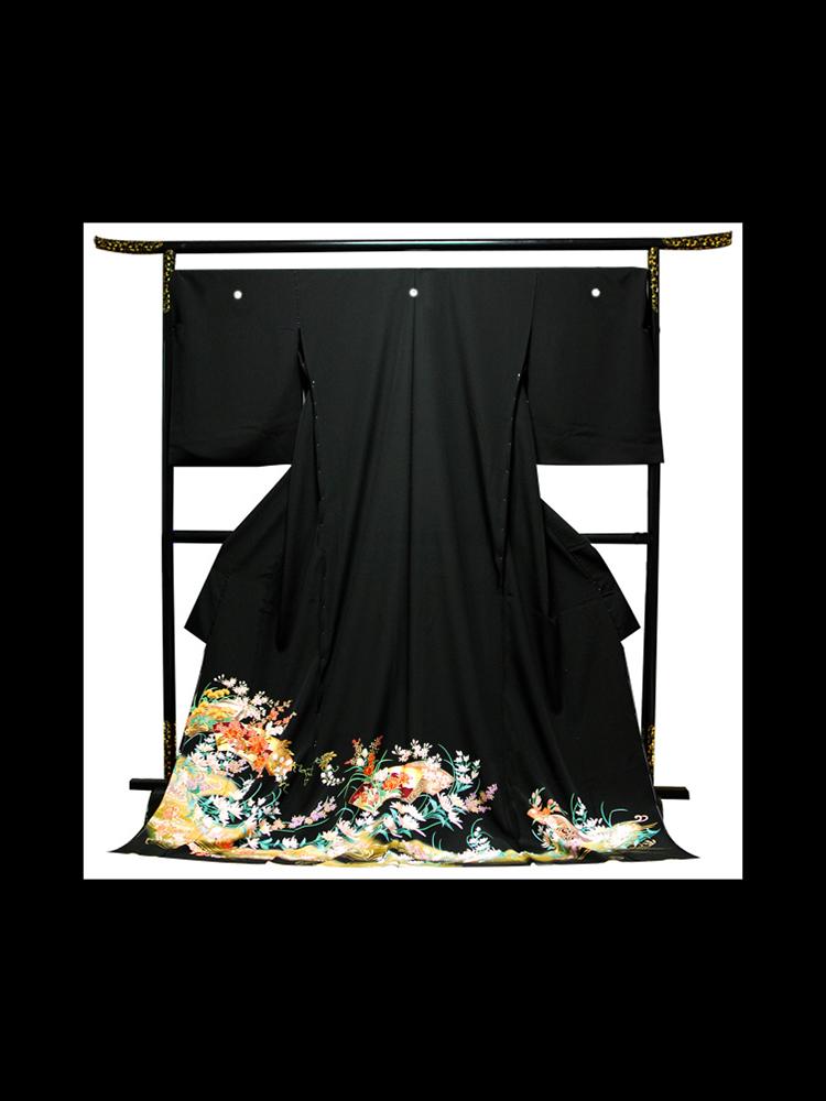 【高級黒留袖レンタル】t-217 幅広の大きいサイズ・地紙と草花 MOOサイズ 草花・地紙