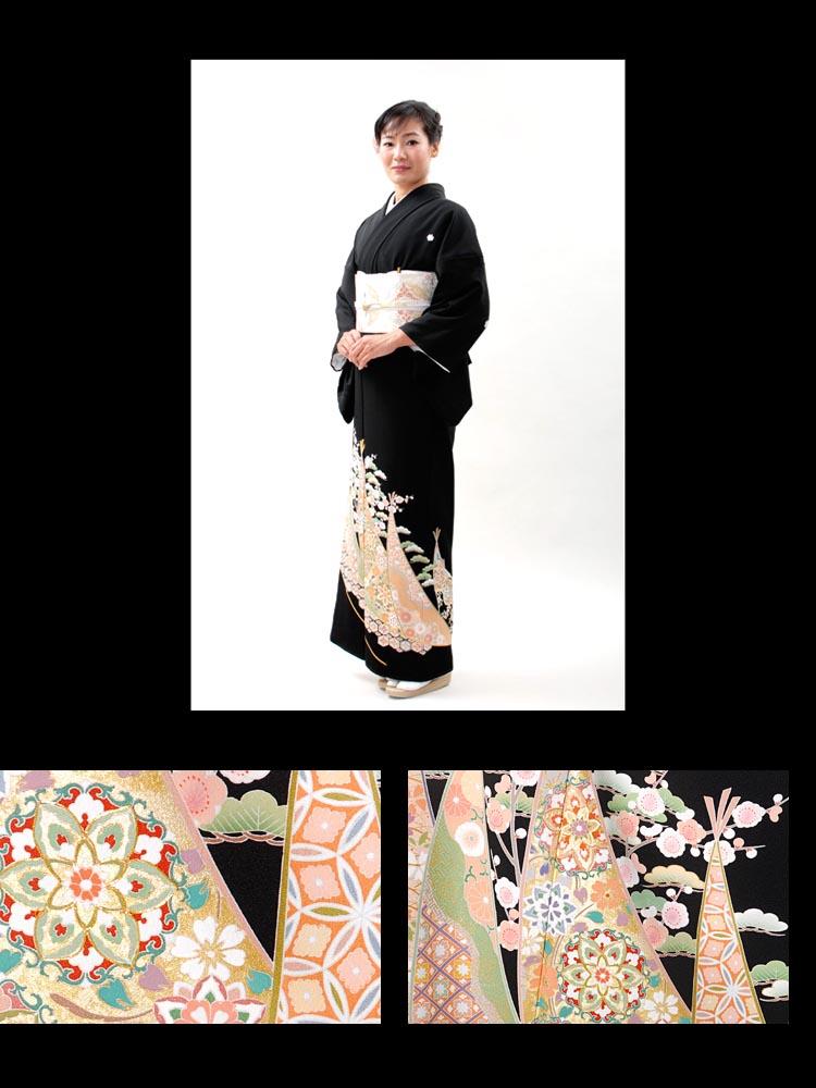 品番t-310。黒留袖レンタルの着姿画像。パステルカラーで女性らしいイメージの留袖です。