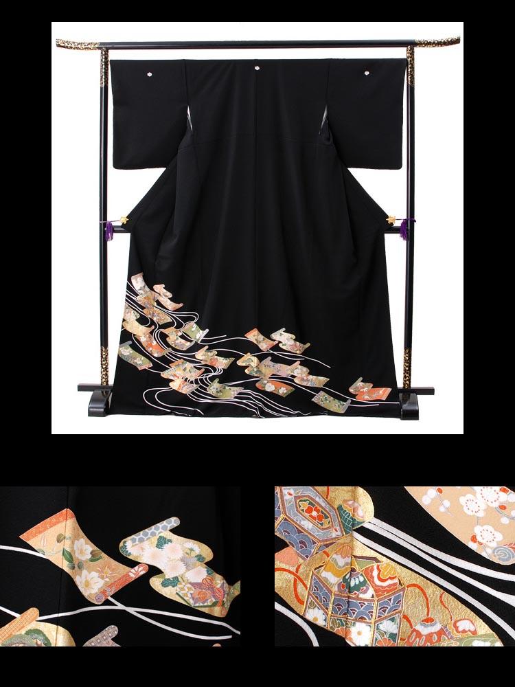 巻物柄の黒留袖レンタル。品番t-319
