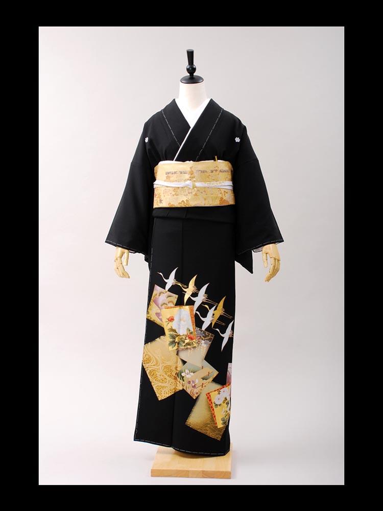 【高級黒留袖レンタル】t-401 桃山シリーズ・色紙 MLサイズ 色紙に鶴