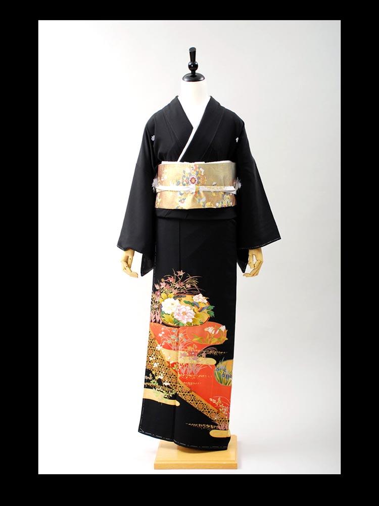 【高級黒留袖レンタル】t-405 桃山シリーズ・四季の花 MLサイズ 四季の花