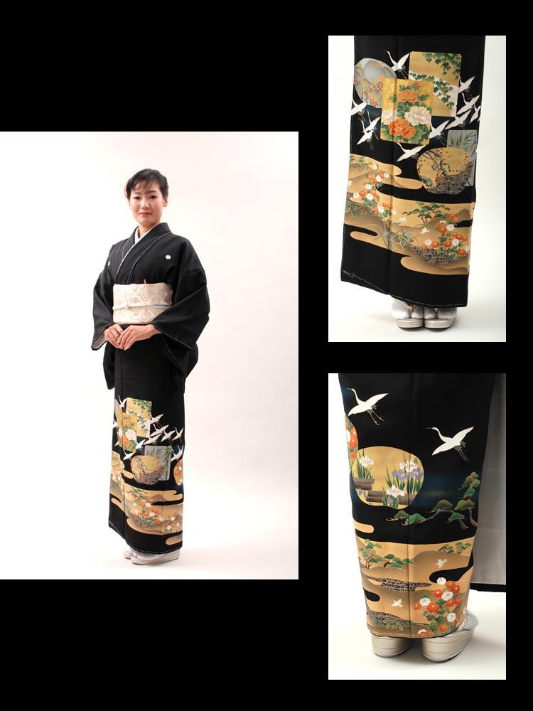 【高級黒留袖レンタル】t-420 リーズナブル・ MLサイズ 鶴に霞