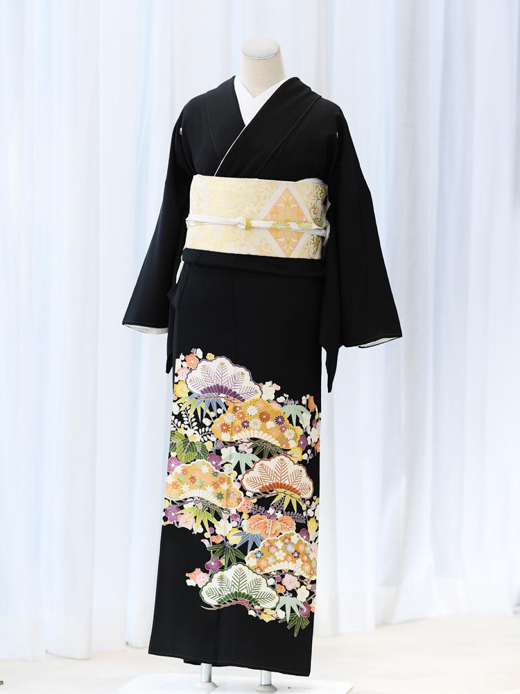 【高級黒留袖レンタル】t-454 松竹梅の鮮やかな留袖 Mサイズ 松竹梅