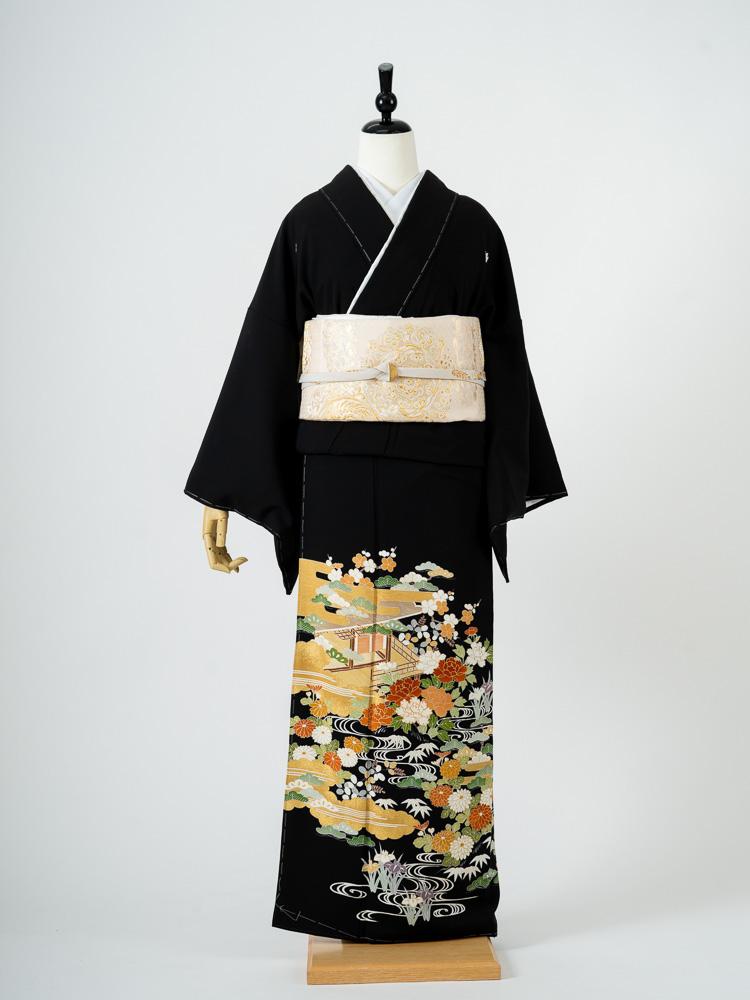 【高級黒留袖レンタル】t-484「菱健謹製」古典調の茶屋辻柄  MLサイズ