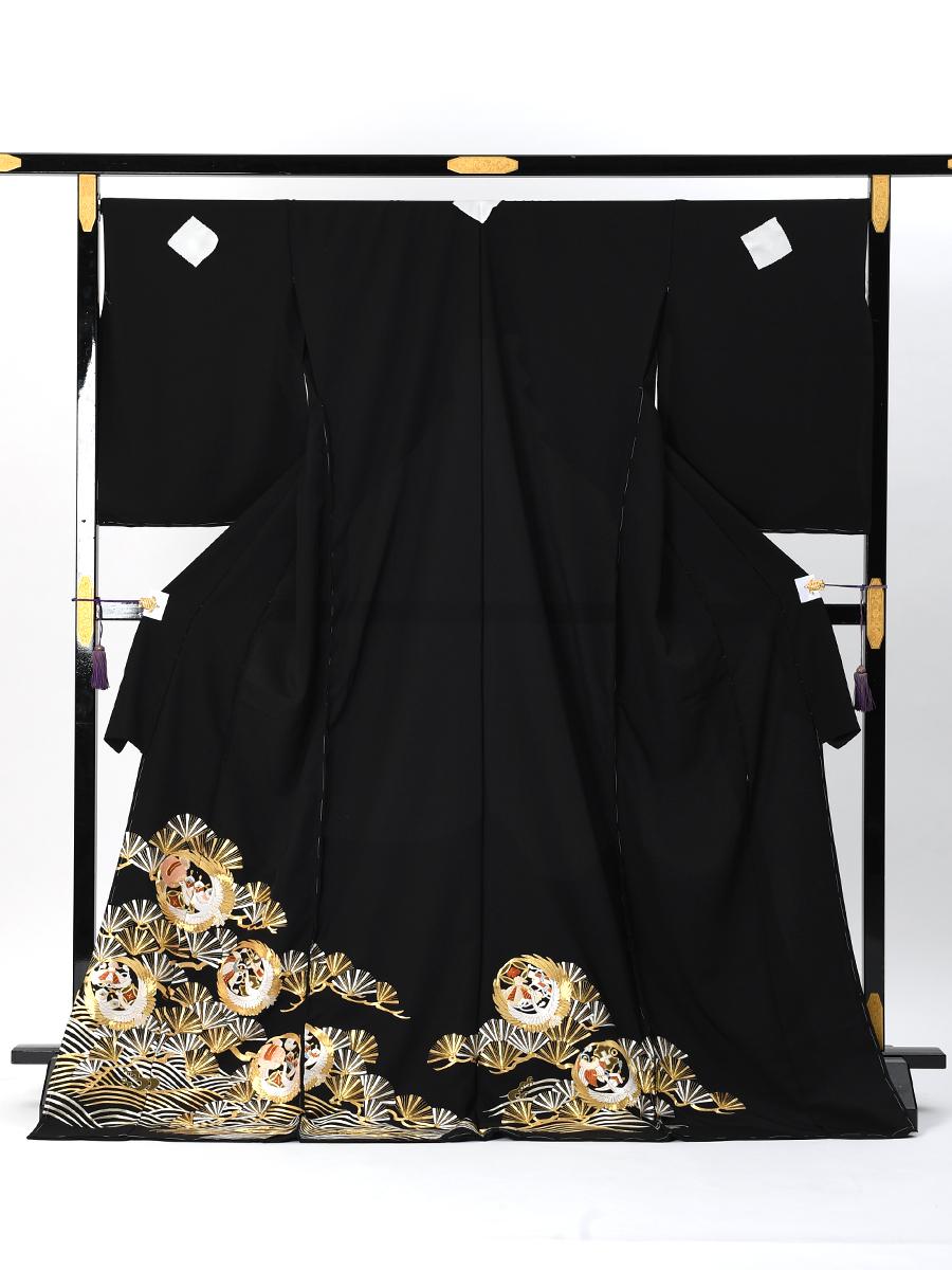 【最高級総刺繍の黒留袖レンタル】松葉に鶴と宝尽くし・MLサイズ(160cm中心)品番t-663
