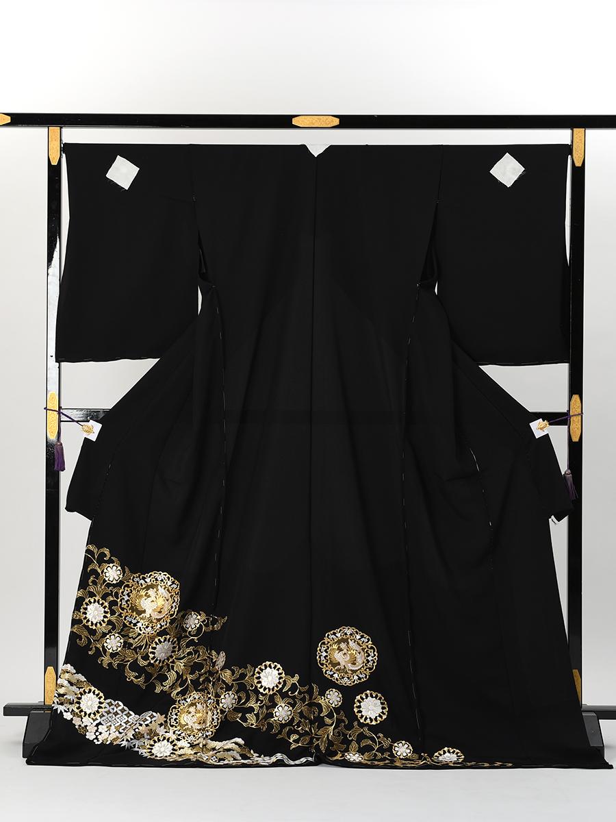【最高級総刺繍の黒留袖レンタル】鳳凰と唐草柄・LL〜LOサイズ(163cm中心,少し幅広)品番t-667