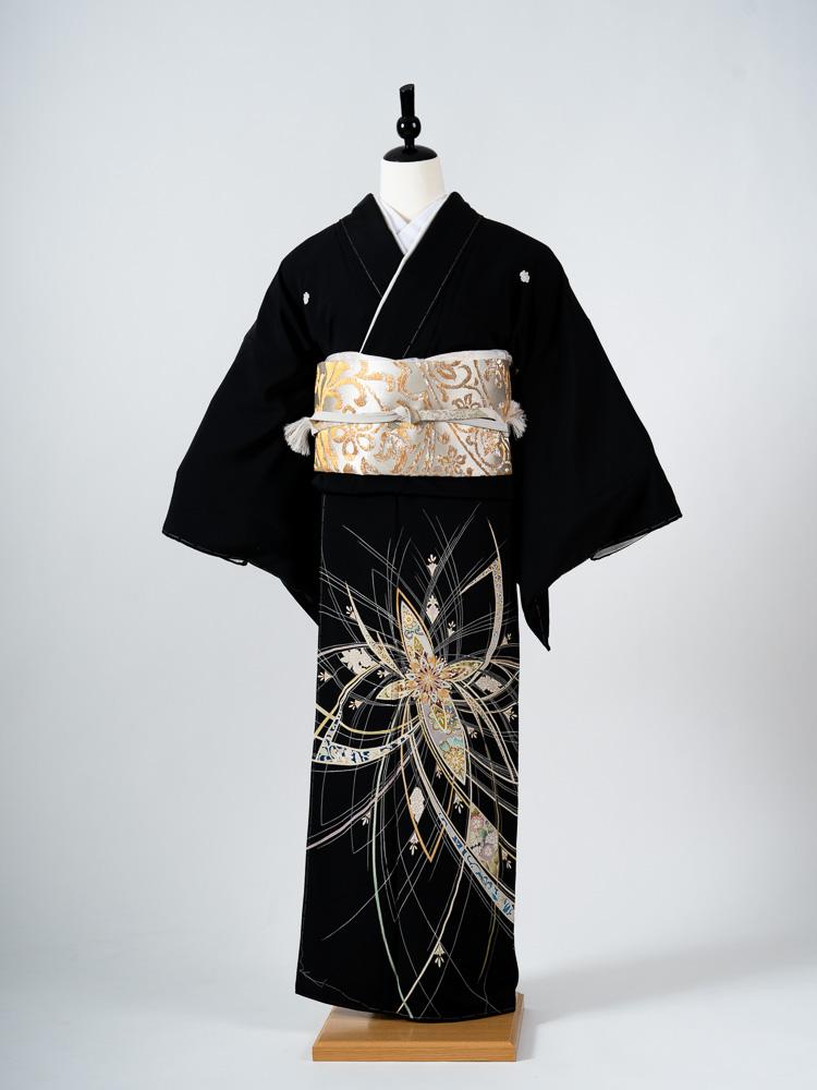 【最高級黒留袖レンタル】t-668 最高級京友禅黒留袖・コスモ宝相華文 LLサイズ