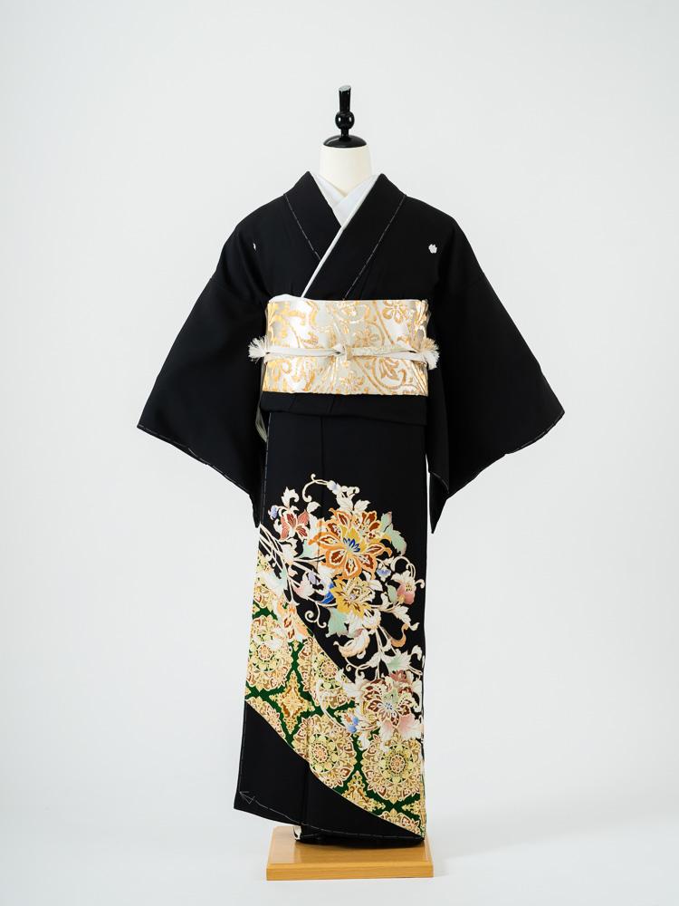 【高級黒留袖レンタル】t-670 上品でモダンな京友禅 MLサイズ 洋花・華文 菱健謹製