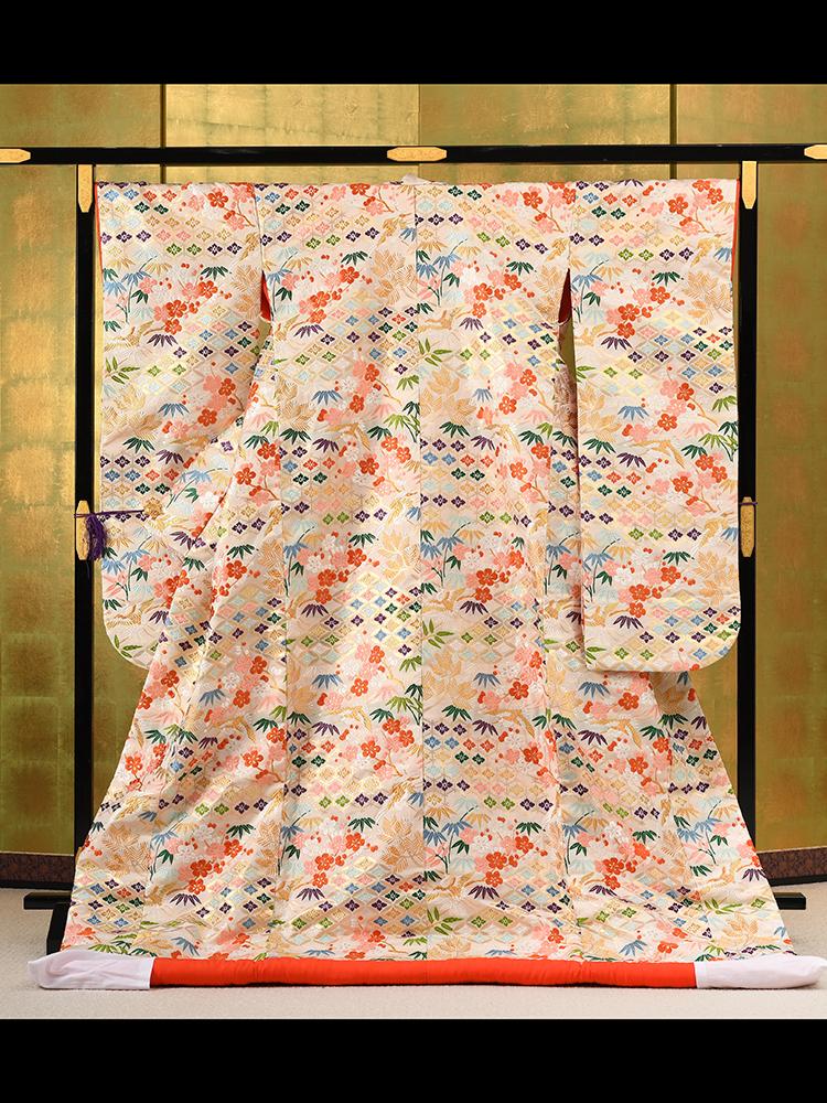 【最高級色打掛レンタル】 山口美術織物謹製 「吉祥飛鶴松竹梅唐織打掛」 品番uchikake-72