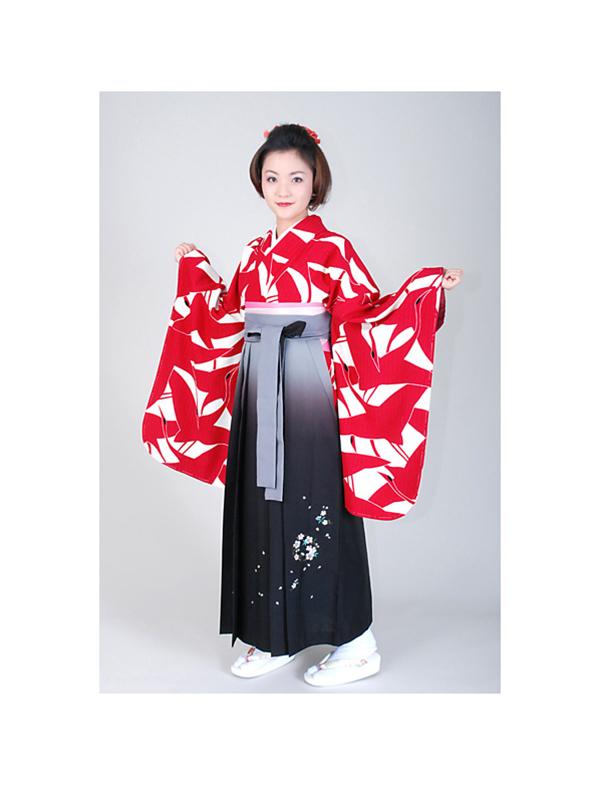 【高級卒業式袴レンタル】w-005 赤と白の総鶴柄 サイズ 鶴