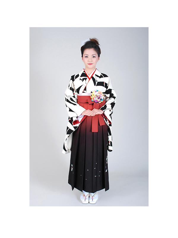 【高級卒業式袴レンタル】w-006 黒と白の総鶴柄 サイズ 鶴