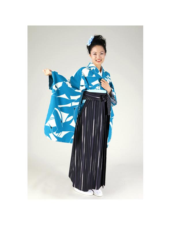 【高級卒業式袴レンタル】w-007 青と白の総鶴柄 サイズ 鶴