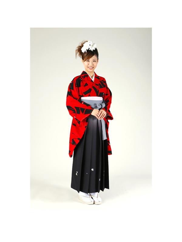 【高級卒業式袴レンタル】w-008 赤と黒の総鶴柄 サイズ 鶴