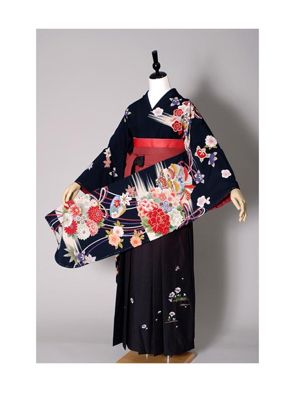 【高級卒業式袴レンタル】w-010 黒地 花丸文と組紐 サイズ 花の丸文