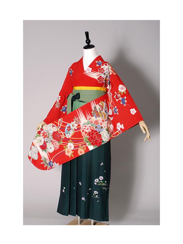 【高級卒業式袴レンタル】w-011 朱色地 花丸文と組紐 サイズ 花の丸文