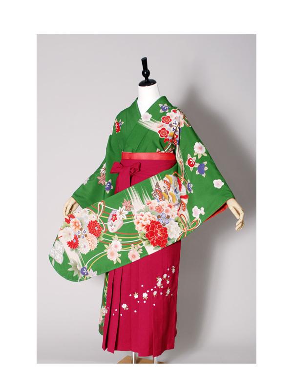 【高級卒業式袴レンタル】w-012 濃い緑地 花丸文と組紐 サイズ 花の丸文
