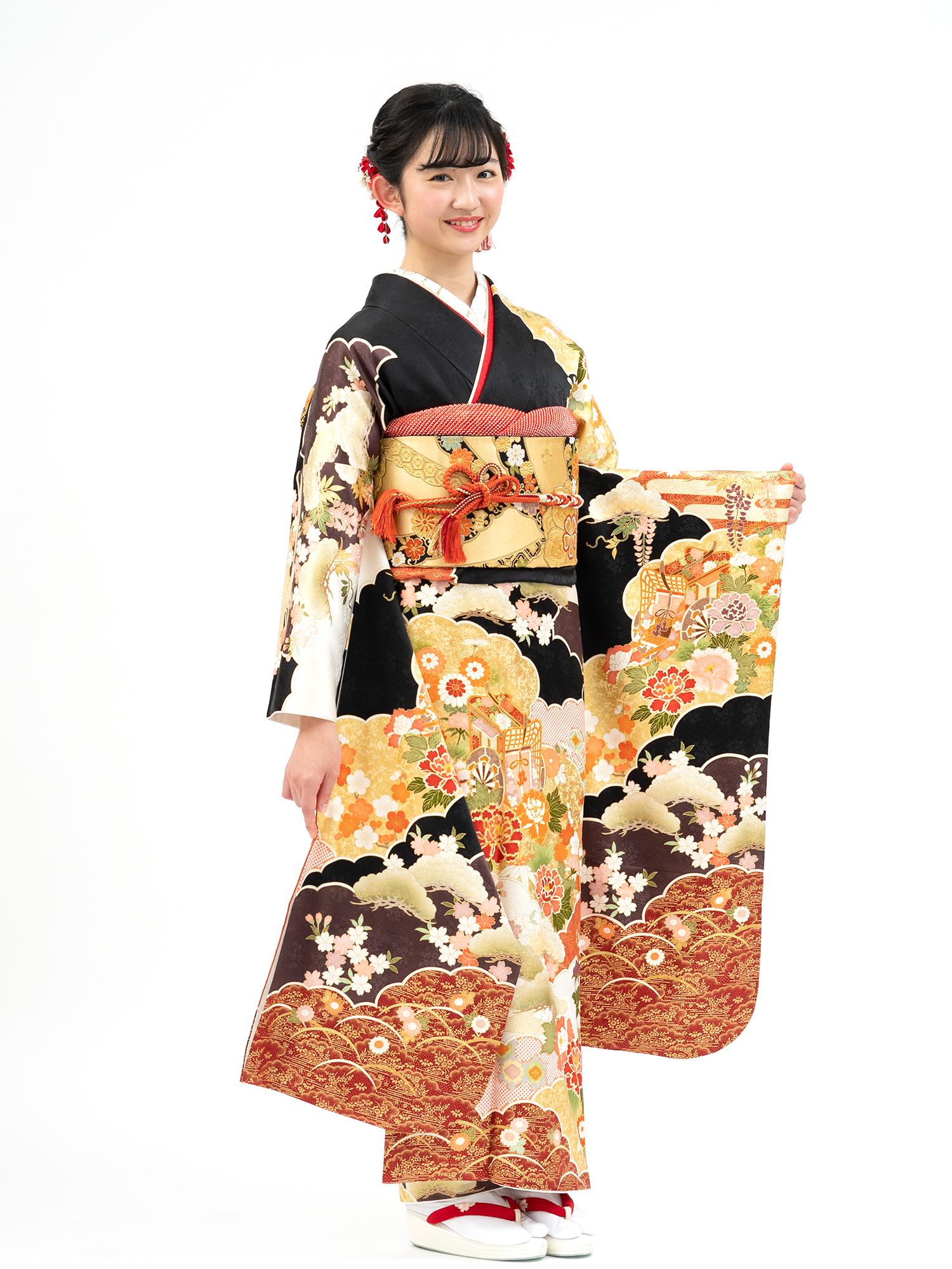 【吉澤織物の高級振袖レンタル】品番yoshi2012-3・MLサイズ 黒地・雲取り柄