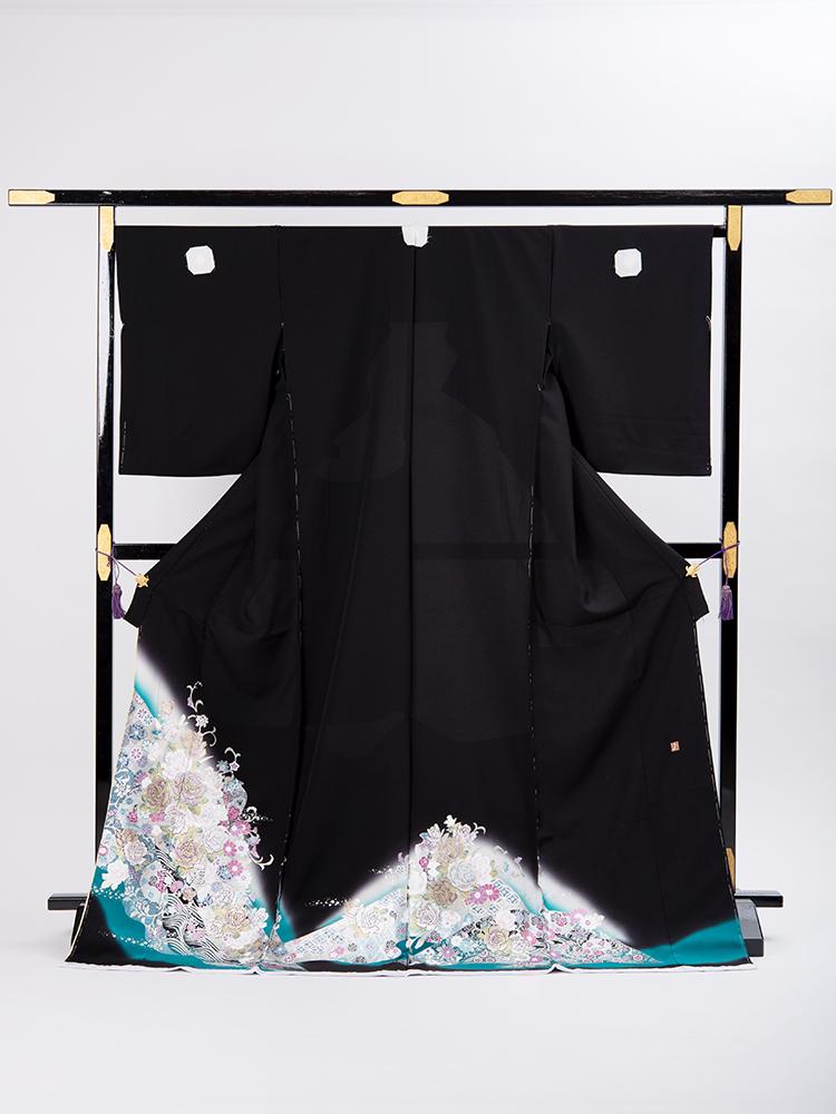 【Lサイズの桂由美留袖レンタル】yumi-katsura-29 桂由美ブランドの黒留袖レンタル「薔薇のせせらぎ」 Lサイズ