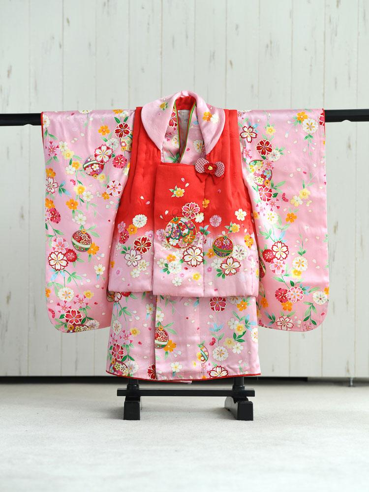 【七五三の着物レンタル】 3歳の女の子用被布セット ピンクと赤  品番:KD-20