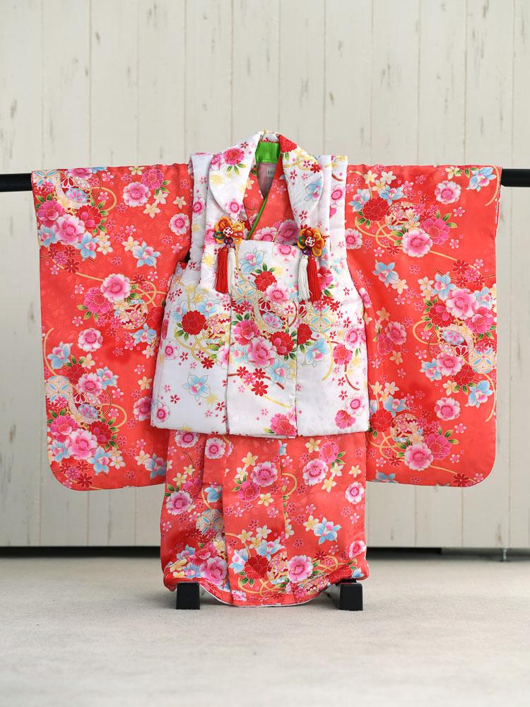 【七五三の着物レンタル】 3歳の女の子用被布セット 赤の着物と白の被布  品番:KD-21