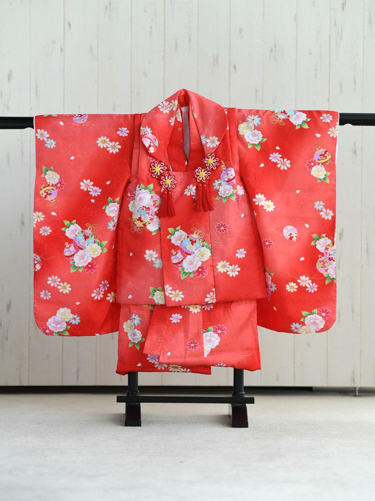 【七五三の着物レンタル】 3歳の女の子用被布セット 赤 花柄  品番:KD-22