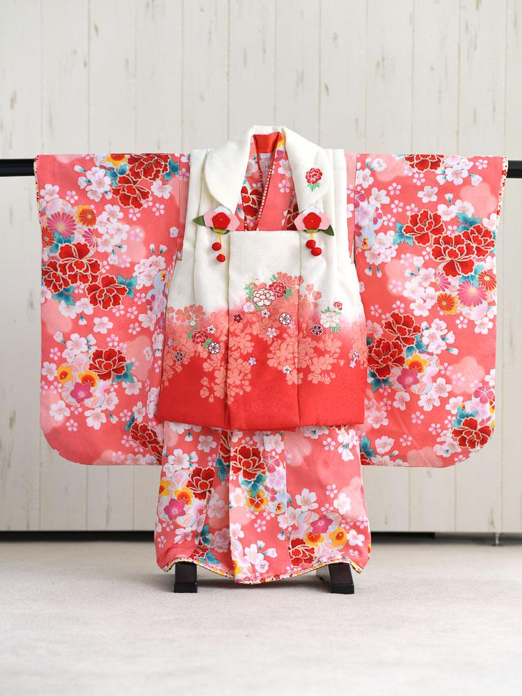 【七五三の着物レンタル】 3歳の女の子用被布セット 赤・ピンク・白 花柄  品番:KD-27