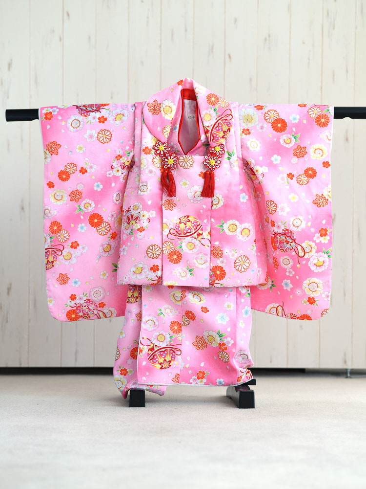 【七五三の着物レンタル】 3歳の女の子用被布セット ピンク 花柄  品番:KD-28