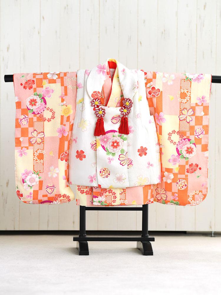【七五三の着物レンタル】 3歳の女の子用被布セット オレンジ系・白 花柄  品番:KD-29