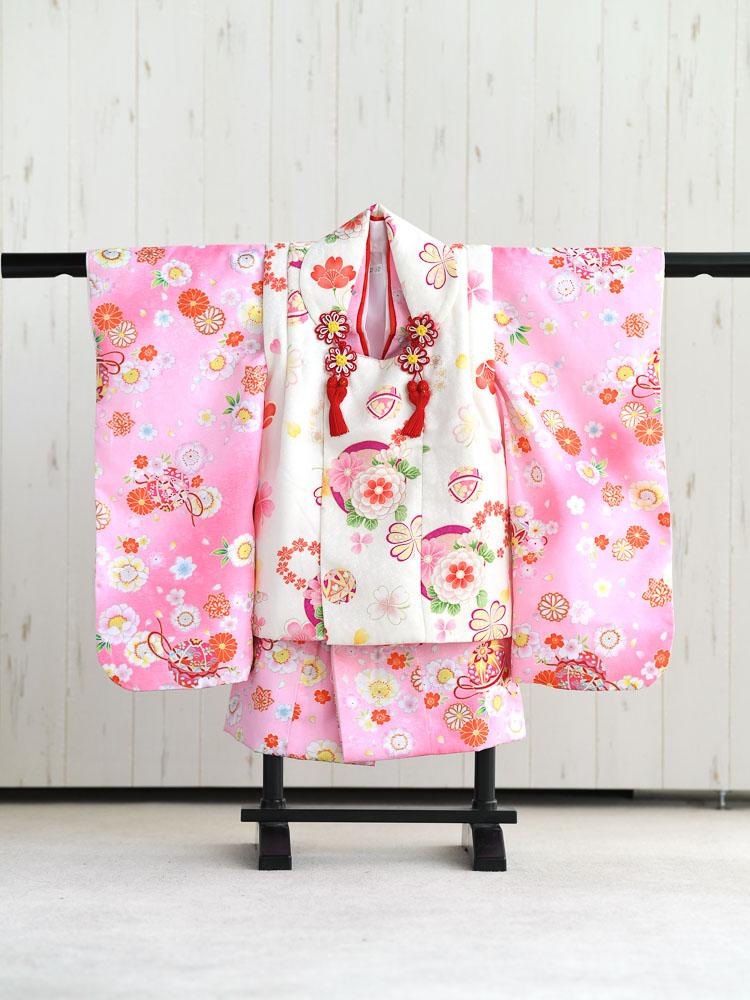 【七五三の着物レンタル】 3歳の女の子用被布セット ピンクと白 花柄  品番:KD-30