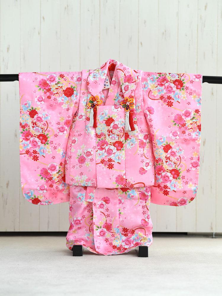 【七五三の着物レンタル】 3歳の女の子用被布セット ピンク 花柄  品番:KD-44