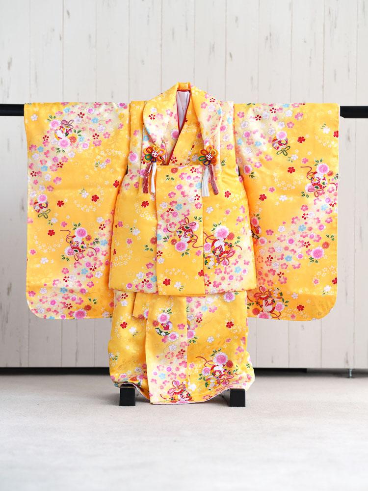 【七五三の着物レンタル】 《新品》3歳の女の子用被布セット 黄色  品番:KD-45