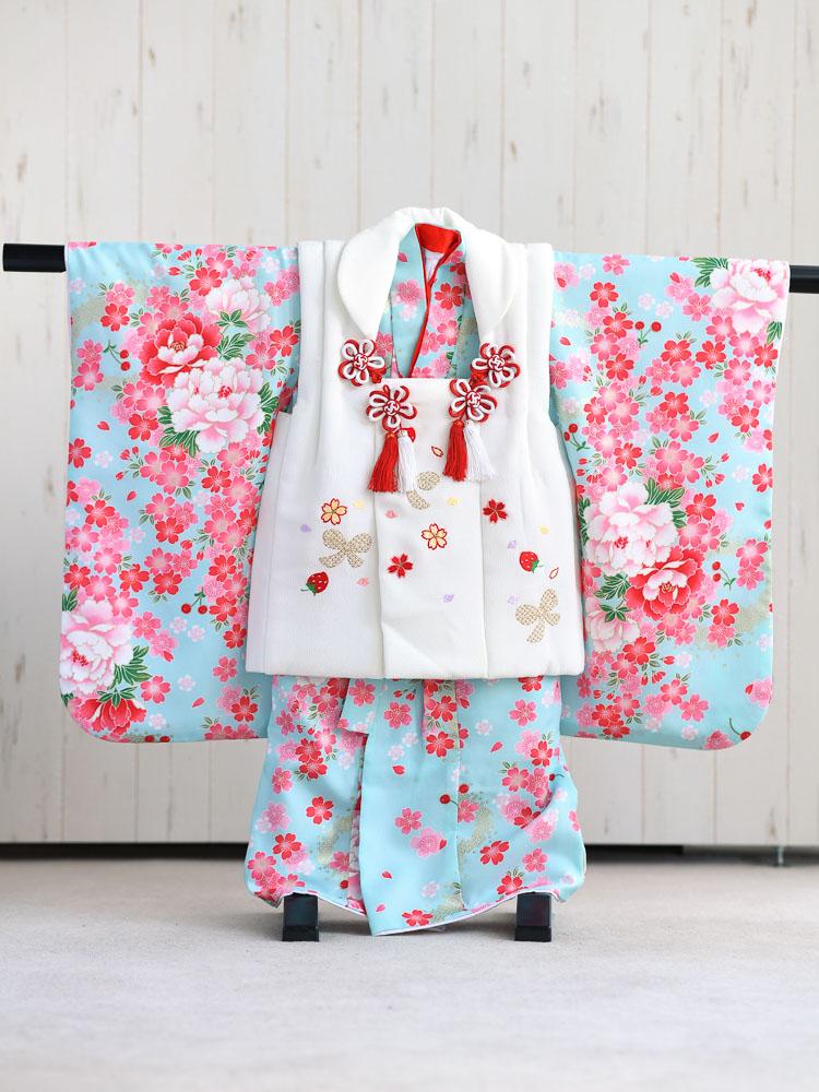 【七五三の着物レンタル】 3歳の女の子用被布セット 白と水色  品番:KD-46