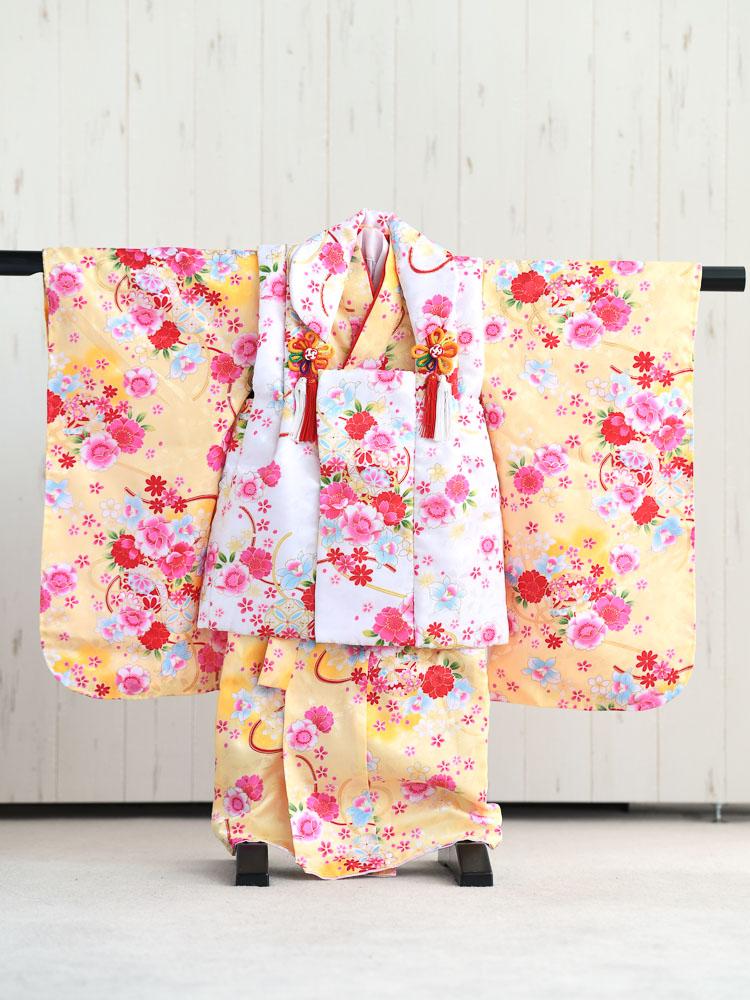 【七五三の着物レンタル】 《新品》3歳の女の子用被布セット 黄色と白  品番:KD-47